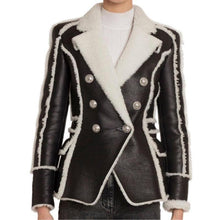 Load image into Gallery viewer, Work Wear Stylish Designer Jacket Women's Double Breasted Lion Buttons Faux Fur Leather Blazer Coat
