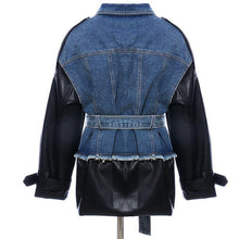 Load image into Gallery viewer, High QUALITY Women Work Wear Stylish Jacket Blazer Women's Leather Patchwork Denim Jacket Blazer Workwear - moonaro