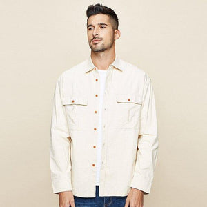Spring 100% Cotton Pocket Shirt Men Dress Button Casual Slim Fit Long Sleeve For Male New Fashion Brand Clothes