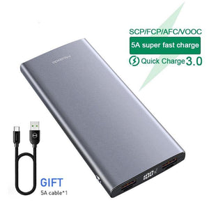 Power Bank 5A Super Fast Charge for Huawei External Battery VOOC QC3.0 FCP AFC for Samsung Oppo IPhone Portable PoverBank