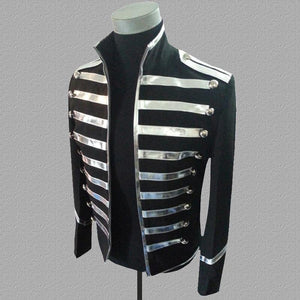 Blazer Men Mandarin Collar Gold Silver Stage Suit Jacket Party Dress Singers Clothing