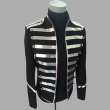 Load image into Gallery viewer, Blazer Men Mandarin Collar Gold Silver Stage Suit Jacket Party Dress Singers Clothing