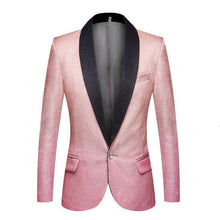 Load image into Gallery viewer, Men's Fashion Gradient Color Shiny Gold Blue Champagne Pink Black Slim Fit Blazer Stage Singer Prom Dress Suit Jacket