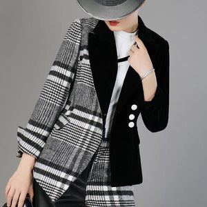 Women's Velour Patchwork Wool Plaid Blazer Coat Long Sleeve Asymmetrical Women's Fashion Blazer Coat