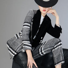 Load image into Gallery viewer, Women's Velour Patchwork Wool Plaid Blazer Coat Long Sleeve Asymmetrical Women's Fashion Blazer Coat