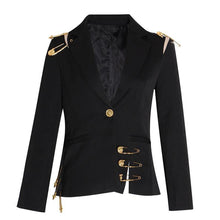Load image into Gallery viewer, Women's Hollow Out Patchwork Lace Up Blazer Notched Long Sleeve Slim Elegant Fashion Coat Blazer