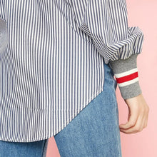 Load image into Gallery viewer, High Quality Women's Threaded Boat Neck Striped Balloon Sleeves Shirt Office work Outwear Fashion