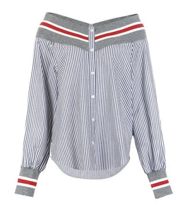 High Quality Women's Threaded Boat Neck Striped Balloon Sleeves Shirt Office work Outwear Fashion