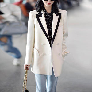 Women Casual Blazers Notched Collar Long Sleeve Loose Coat Blazer Fashion Work Wear
