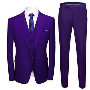 3 Piece Wedding Suits For Men Slim Fit Men's Suits Formal Burgundy Green Purple Yellow Red White Man Suit 5XL 6XL