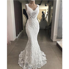 Load image into Gallery viewer, Robe De Mariee Elegant Cut-Out Lace Mermaid Wedding Dress Sleeveless Hollow Out Wedding Bridal Gowns Dress Vestido de Noiva