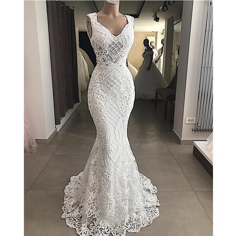 Robe De Mariee Elegant Cut-Out Lace Mermaid Wedding Dress Sleeveless Hollow Out Wedding Bridal Gowns Dress Vestido de Noiva
