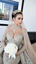 Load image into Gallery viewer, Luxury Crystal Beaded Mermaid Wedding Dresses With Detachable Train Sexy High Neck Long Sleeves Bridal Gown