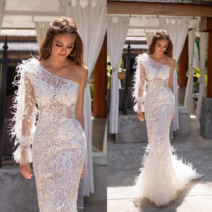 Elegant One Shoulder Wedding Dresses with Feathers Illusion Lace Mermaid Wedding Gowns Long Sleeve vestido de novia