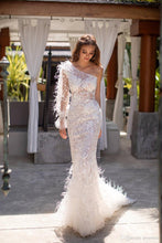 Load image into Gallery viewer, Elegant One Shoulder Wedding Dresses with Feathers Illusion Lace Mermaid Wedding Gowns Long Sleeve vestido de novia