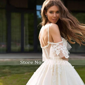 Sexy Backless Sweetheart Lace Princess Wedding Dresses Appliques Beaded Half Sleeve Vintage A Line Bridal Gowns - moonaro
