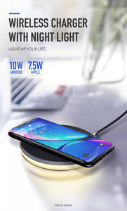 10W Qi Wireless Light Charger For iPhone X Xr Xs Max 8 Fast Charging Wireless Pad For Samsung S9 S8+ Huawei Mate 20 Pro