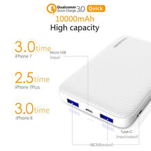 Load image into Gallery viewer, Power Bank 10000mAh Type C PD Fast Charging Quick Charge 3.0 USB Powerbank External Battery for Xiaomi IPhone PoverBank