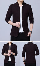 Load image into Gallery viewer, Men Blazers Stand Collar Male Slim Fit Business Casual Blazer Coat Men Brand Outwear Jacket