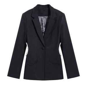 Women hollow out Rhinestone Blazer New Lapel Long Sleeve Loose Fit  Jacket Fashion Tide