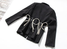 Load image into Gallery viewer, Women hollow out Rhinestone Blazer New Lapel Long Sleeve Loose Fit  Jacket Fashion Tide