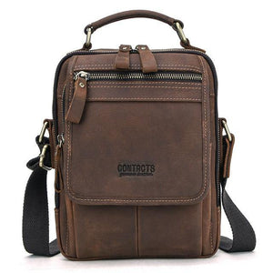 "Crazy Horse Leather Men Messenger Bag Vintage Man Hand Bags for 7.9"" iPad High Quality Shoulder Bags Tote Crossbody Bag"