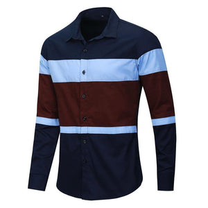 New Fashion Patchwork Shirt Men Casual Brand Clothing Male 100% Cotton Long Sleeve Colorblock Shirt Tops