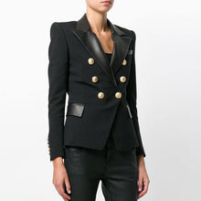 Load image into Gallery viewer, Fashion High Quality Design PU Leather Collar Slim Black Blazer OL Formal Classic Fitness Blazers