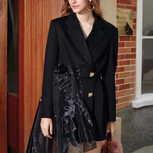 Women Casual Patchwork Mesh Blazers Notched Long Sleeve High Waist Lace Up Fashion Coat Blazer - moonaro