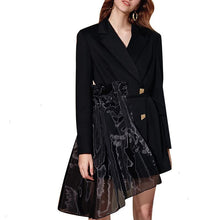 Load image into Gallery viewer, Women Casual Patchwork Mesh Blazers Notched Long Sleeve High Waist Lace Up Fashion Coat Blazer - moonaro