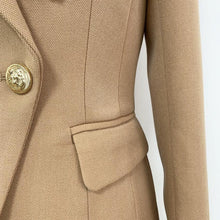 Load image into Gallery viewer, Women Fashion Designer Blazer Women's Lion Buttons Double Breasted Thick Fabric Blazer Jacket Brown