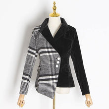 Load image into Gallery viewer, Women's Patchwork Velvet Plaid Blazer Coat Long Sleeve Asymmetrical Fashion Coat Blazer