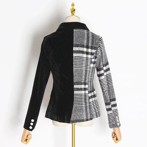 Women's Patchwork Velvet Plaid Blazer Coat Long Sleeve Asymmetrical Fashion Coat Blazer