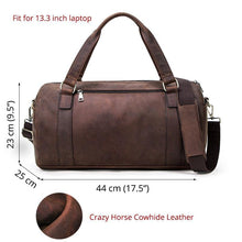 Load image into Gallery viewer, Crazy Horse Genuine Leather Travel Bag Men Large Capacity Male Shoulder Bags Vintage Travel Duffel Bag Totes Handbags