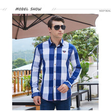 Load image into Gallery viewer, Men 100% Cotton Plaid Shirt Long Sleeve Slim Fit Dress Shirts Casual Fashion Business Social Shirt - moonaro