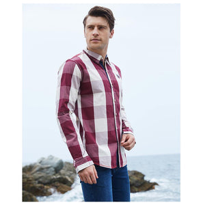 Men 100% Cotton Plaid Shirt Long Sleeve Slim Fit Dress Shirts Casual Fashion Business Social Shirt - moonaro