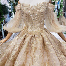 Load image into Gallery viewer, Golden lace Wedding Dress with train puffy half sleeves tassel princess bridal dresses vestidos de novia