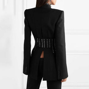 Women's Casual Blazer Lapel Long Sleeve Button Bandage Split Slim Black Fashion Coat Blazer