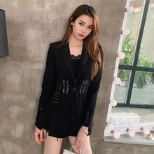 Load image into Gallery viewer, Women's Casual Blazer Lapel Long Sleeve Button Bandage Split Slim Black Fashion Coat Blazer
