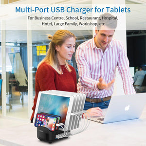 Universal Charging Station Dock with Holder 70W 7 USB Charging for iphone Kindle Tablet - moonaro