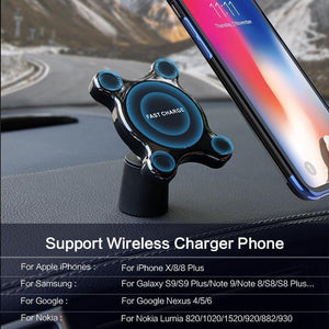 Car Mount Qi Wireless Charger For Samsung Galaxy S9 S10 S8 Note 9 Wireless Charging Car Phone Holder For iPhone XS MAX X