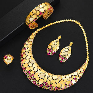 Bling Bling Sequins Luxury Jewelry Sets For Women Cubic Zircon Wedding Bridal Jewelry Set