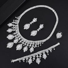 Load image into Gallery viewer, Super Luxury 4PCS Tassel Necklace Jewelry Sets For Women Wedding Zircon Crystal CZ Bridal Jewelry Set - moonaro