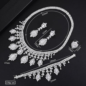 Super Luxury 4PCS Tassel Necklace Jewelry Sets For Women Wedding Zircon Crystal CZ Bridal Jewelry Set