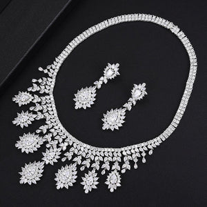 Super Luxury 4PCS Tassel Necklace Jewelry Sets For Women Wedding Zircon Crystal CZ Bridal Jewelry Set - moonaro
