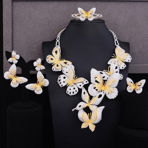 Luxury Lariat Butterfly Cubic Zircon CZ Jewelry sets For Women Wedding Gold Bridal Jewelry Set