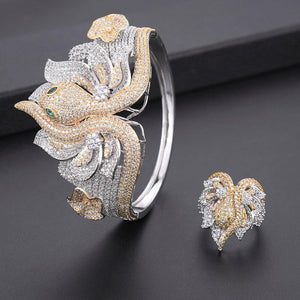 425mm Luxury 2 Tone Rose Gold Snake Princess Flower Women Wedding Cubic Zirconia Dress Necklace Earring Jewelry Set
