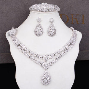 4PCS Trendy Charms  Jewelry Sets For Women Bridal Wedding Cubic Zircon Luxury Statement Jewelry Sets
