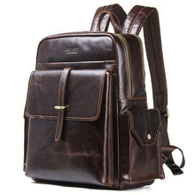 Load image into Gallery viewer, 100% cowhide leather men's backpack for 13 inch laptop genuine leather bagpack casual male large travel bags