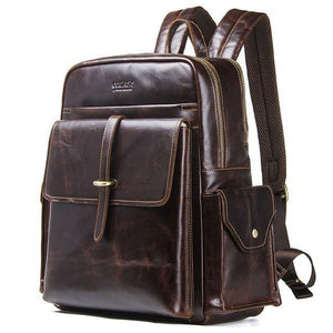 100% cowhide leather men's backpack for 13 inch laptop genuine leather bagpack casual male large travel bags
